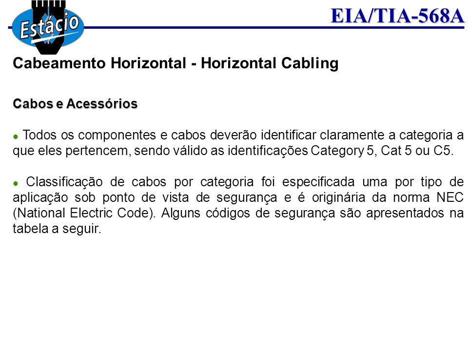 EIA/TIA-568A Cabos e Acessórios Todos os componentes e cabos deverão identificar claramente a categoria a que eles pertencem, sendo válido as identifi