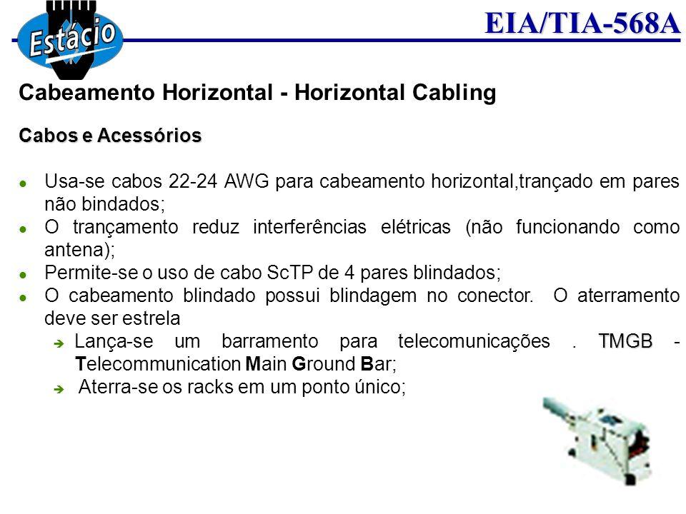 EIA/TIA-568A Cabos e Acessórios Usa-se cabos 22-24 AWG para cabeamento horizontal,trançado em pares não bindados; O trançamento reduz interferências e