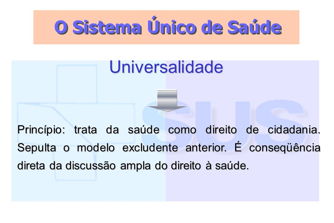 O Sistema Único de Saúde Universalidade Princípio: trata da saúde como direito de cidadania. Sepulta o modelo excludente anterior. É conseqüência dire