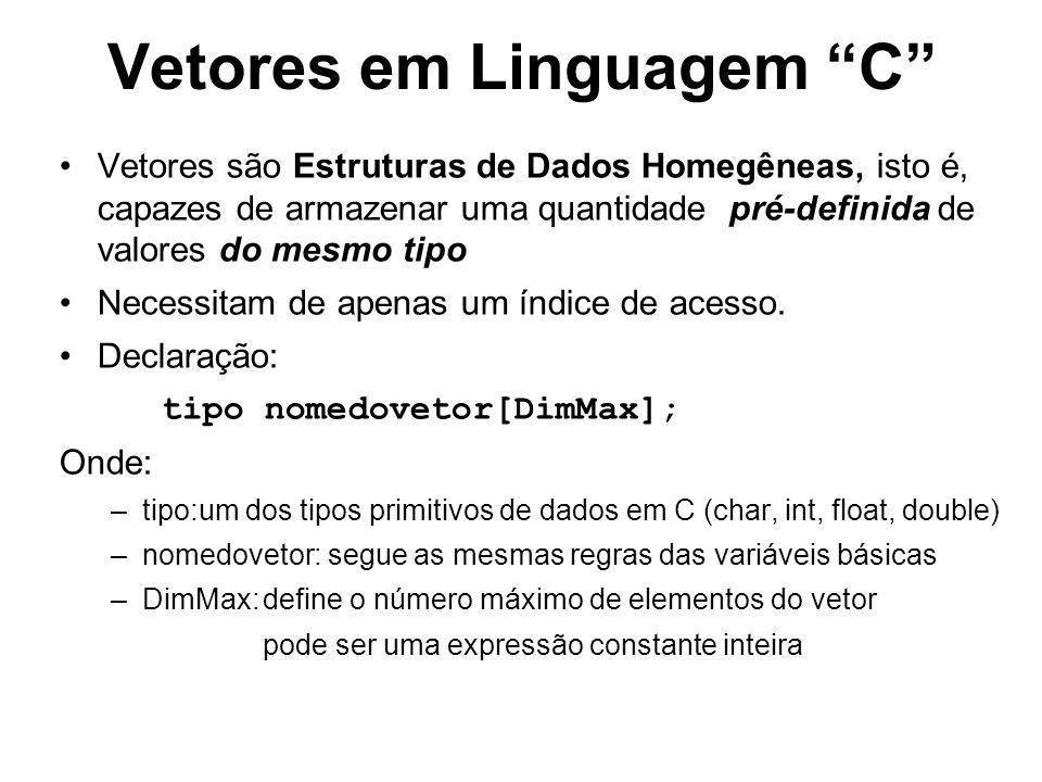 Vetores em Linguagem C Vetores são Estruturas de Dados Homegêneas, isto é, capazes de armazenar uma quantidade pré-definida de valores do mesmo tipo N