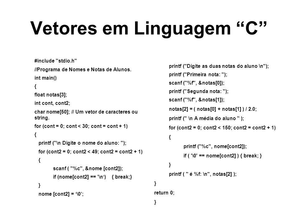 Vetores em Linguagem C #include stdio.h //Programa de Nomes e Notas de Alunos.