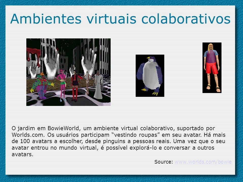 Ambientes virtuais colaborativos O jardim em BowieWorld, um ambiente virtual colaborativo, suportado por Worlds.com. Os usuários participam vestindo r