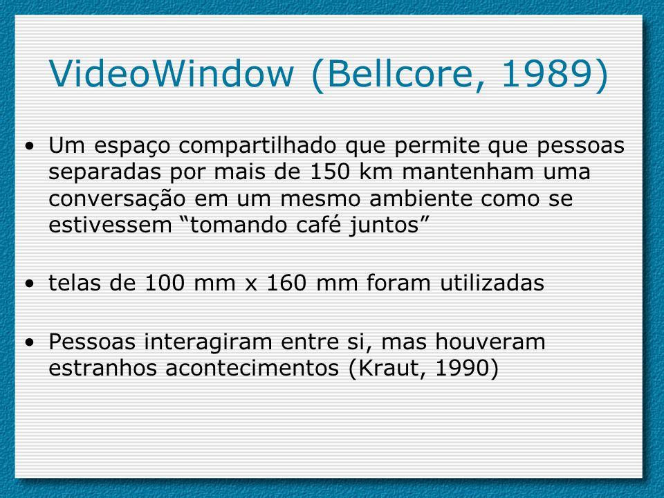 VideoWindow (Bellcore, 1989) Um espaço compartilhado que permite que pessoas separadas por mais de 150 km mantenham uma conversação em um mesmo ambien