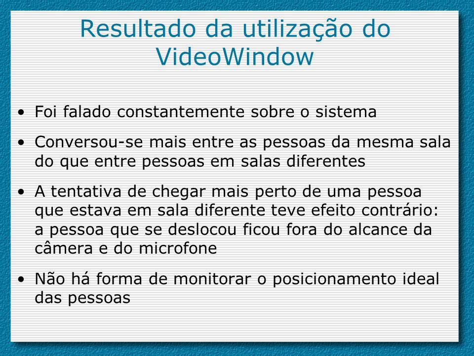 Resultado da utilização do VideoWindow Foi falado constantemente sobre o sistema Conversou-se mais entre as pessoas da mesma sala do que entre pessoas