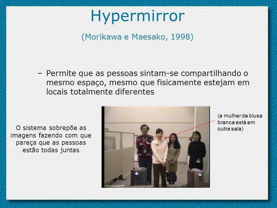 Hypermirror (Morikawa e Maesako, 1998) –Permite que as pessoas sintam-se compartilhando o mesmo espaço, mesmo que fisicamente estejam em locais totalm
