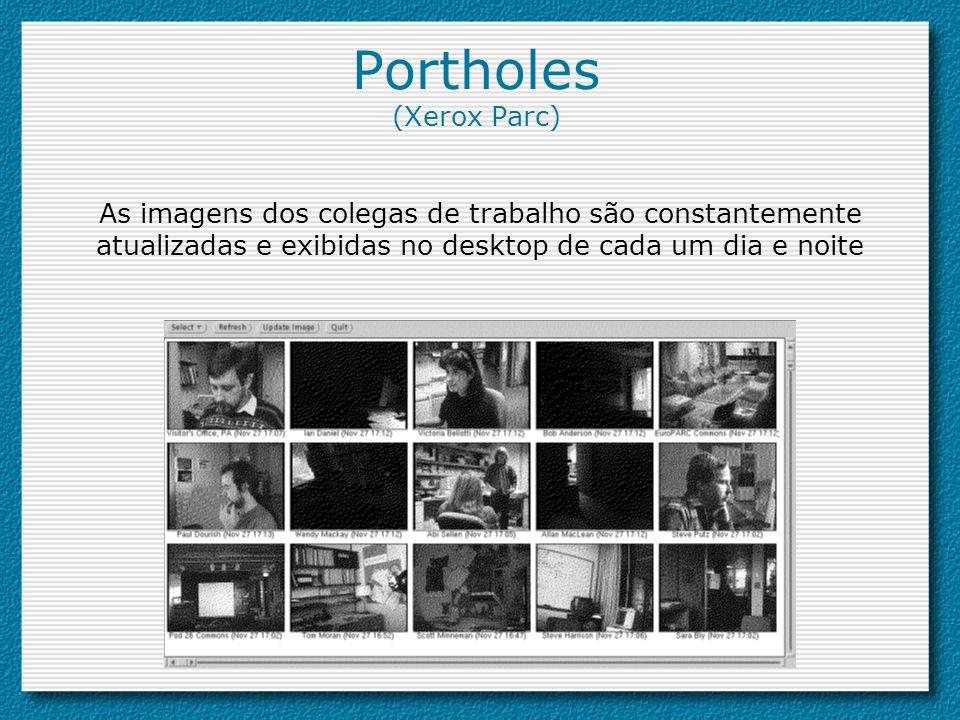 Portholes (Xerox Parc) As imagens dos colegas de trabalho são constantemente atualizadas e exibidas no desktop de cada um dia e noite
