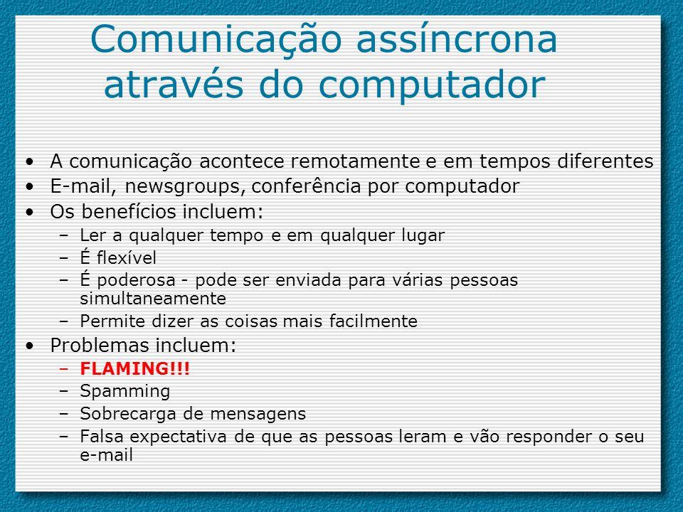 Comunicação assíncrona através do computador A comunicação acontece remotamente e em tempos diferentes E-mail, newsgroups, conferência por computador