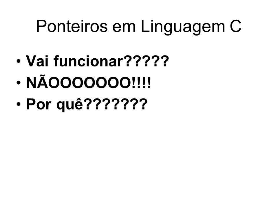 Ponteiros em Linguagem C Vai funcionar????? NÃOOOOOOO!!!! Por quê???????