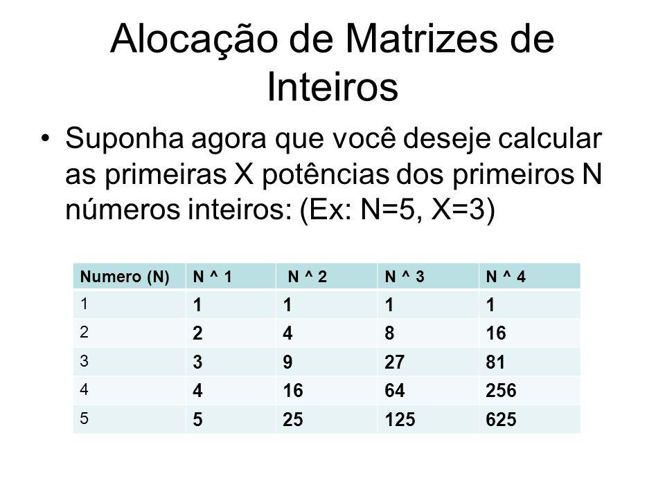 Alocação de Matrizes de Inteiros Suponha agora que você deseje calcular as primeiras X potências dos primeiros N números inteiros: (Ex: N=5, X=3) Nume