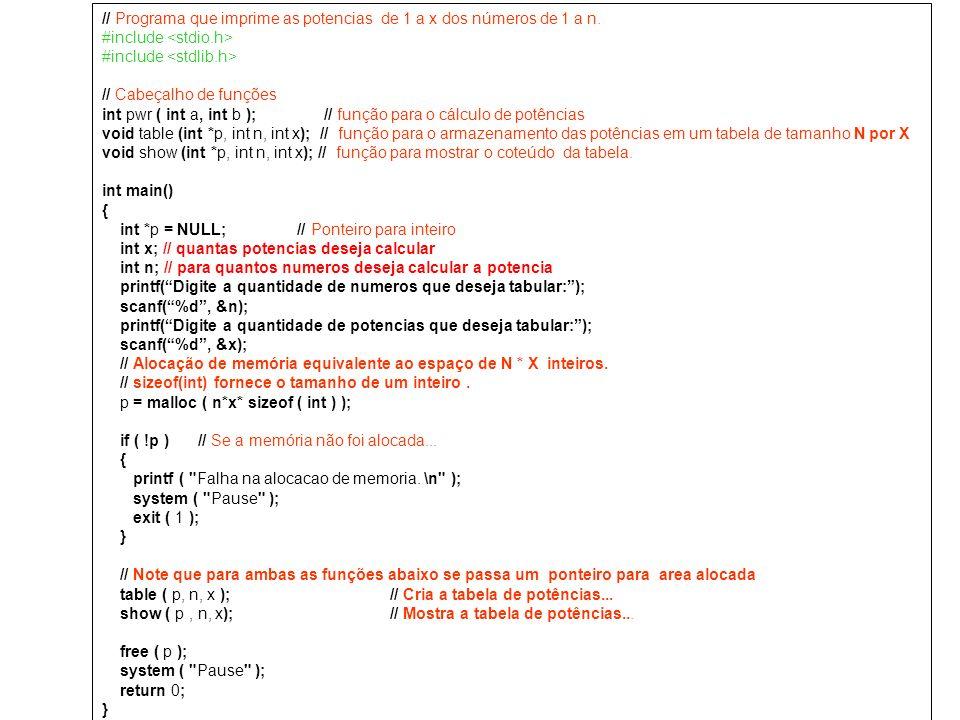 // Programa que imprime as potencias de 1 a x dos números de 1 a n. #include // Cabeçalho de funções int pwr ( int a, int b ); // função para o cálcul