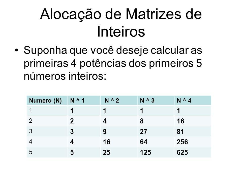 Suponha que você deseje calcular as primeiras 4 potências dos primeiros 5 números inteiros: Numero (N)N ^ 1 N ^ 2N ^ 3N ^ 4 1 1111 2 24816 3 392781 4