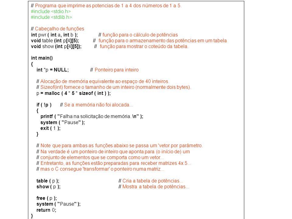// Programa que imprime as potencias de 1 a 4 dos números de 1 a 5. #include // Cabeçalho de funções int pwr ( int a, int b ); // função para o cálcul
