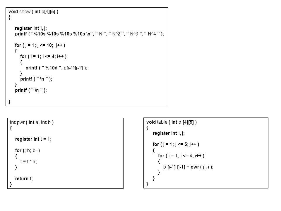void show ( int p[4][5] ) { register int i, j; printf (