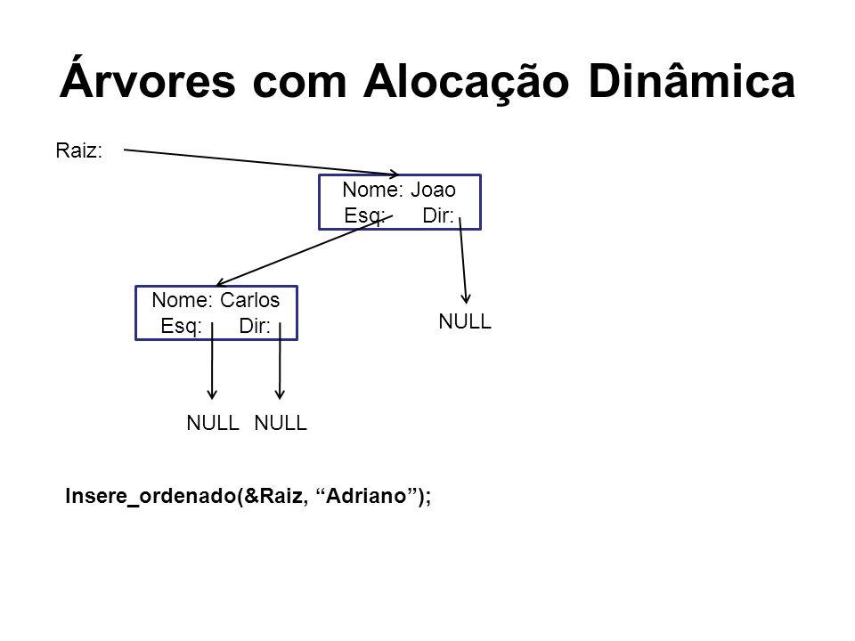 Árvores com Alocação Dinâmica Nome: Joao Esq: Dir: Nome: Carlos Esq: Dir: NULL Raiz: Insere_ordenado(&Raiz, Adriano);