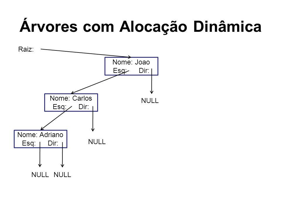 Árvores com Alocação Dinâmica Nome: Joao Esq: Dir: Nome: Carlos Esq: Dir: Nome: Adriano Esq: Dir: NULL Raiz: NULL
