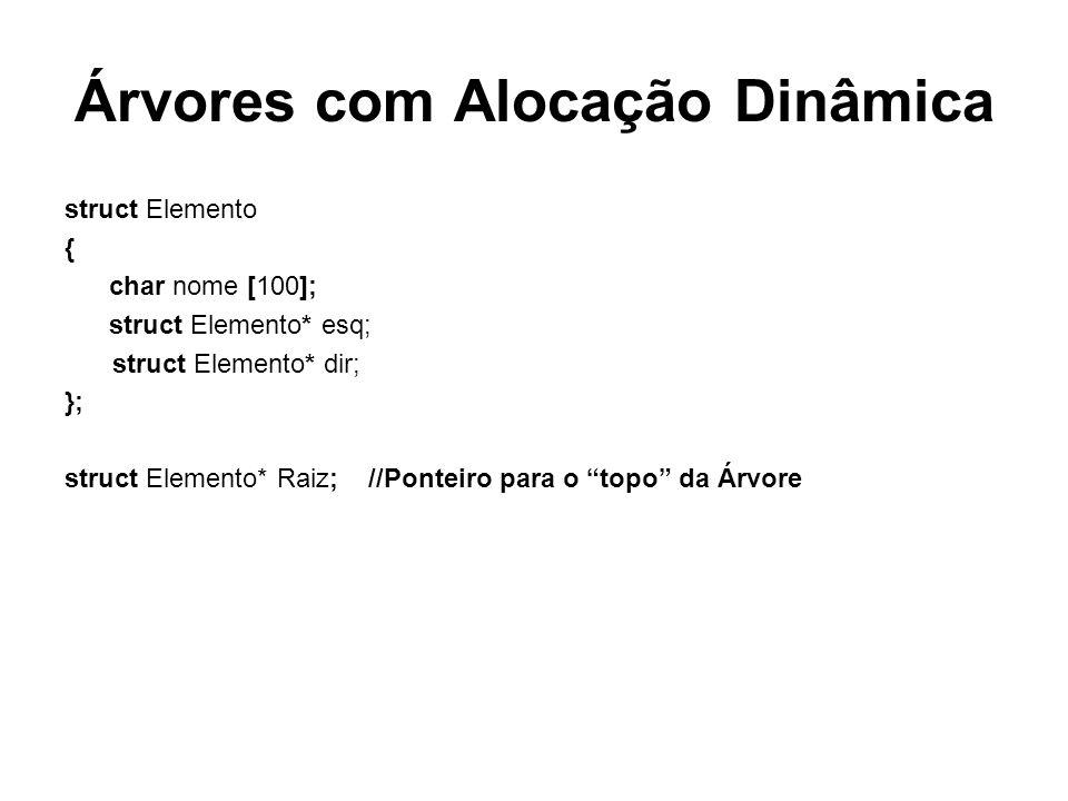 Árvores com Alocação Dinâmica struct Elemento { char nome [100]; struct Elemento* esq; struct Elemento* dir; }; struct Elemento* Raiz; //Ponteiro para