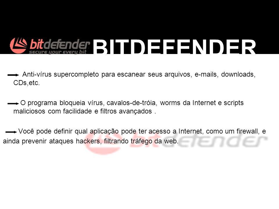Anti-vírus supercompleto para escanear seus arquivos, e-mails, downloads, CDs,etc. O programa bloqueia vírus, cavalos-de-tróia, worms da Internet e sc