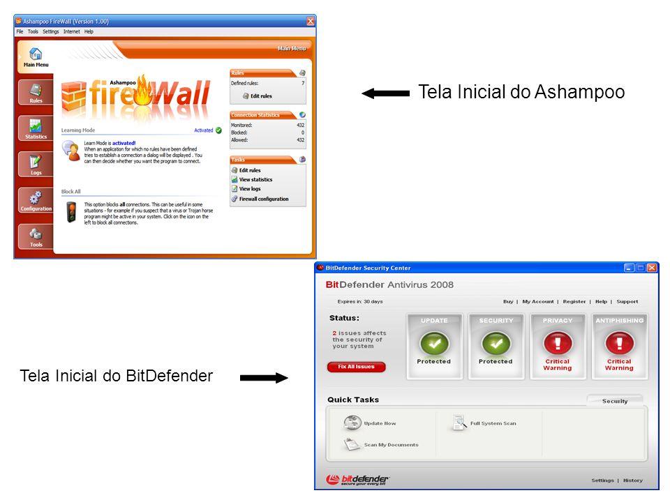 Tela Inicial do Ashampoo Tela Inicial do BitDefender