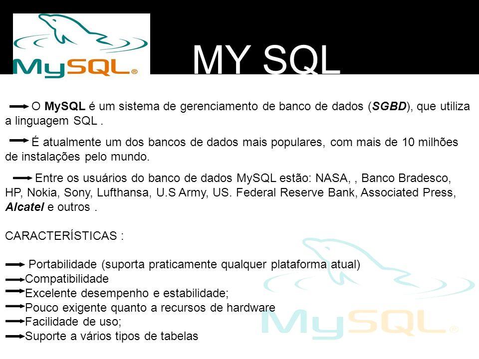MY SQL O MySQL é um sistema de gerenciamento de banco de dados (SGBD), que utiliza a linguagem SQL. É atualmente um dos bancos de dados mais populares