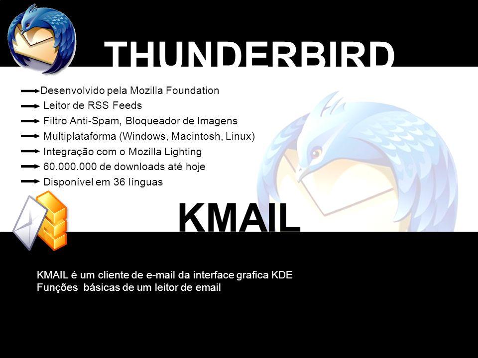 THUNDERBIRD Desenvolvido pela Mozilla Foundation Leitor de RSS Feeds Filtro Anti-Spam, Bloqueador de Imagens Multiplataforma (Windows, Macintosh, Linu