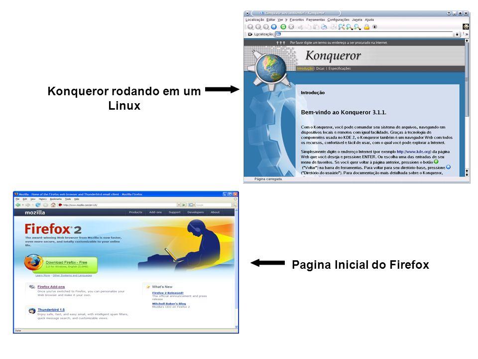 Pagina Inicial do Firefox Konqueror rodando em um Linux