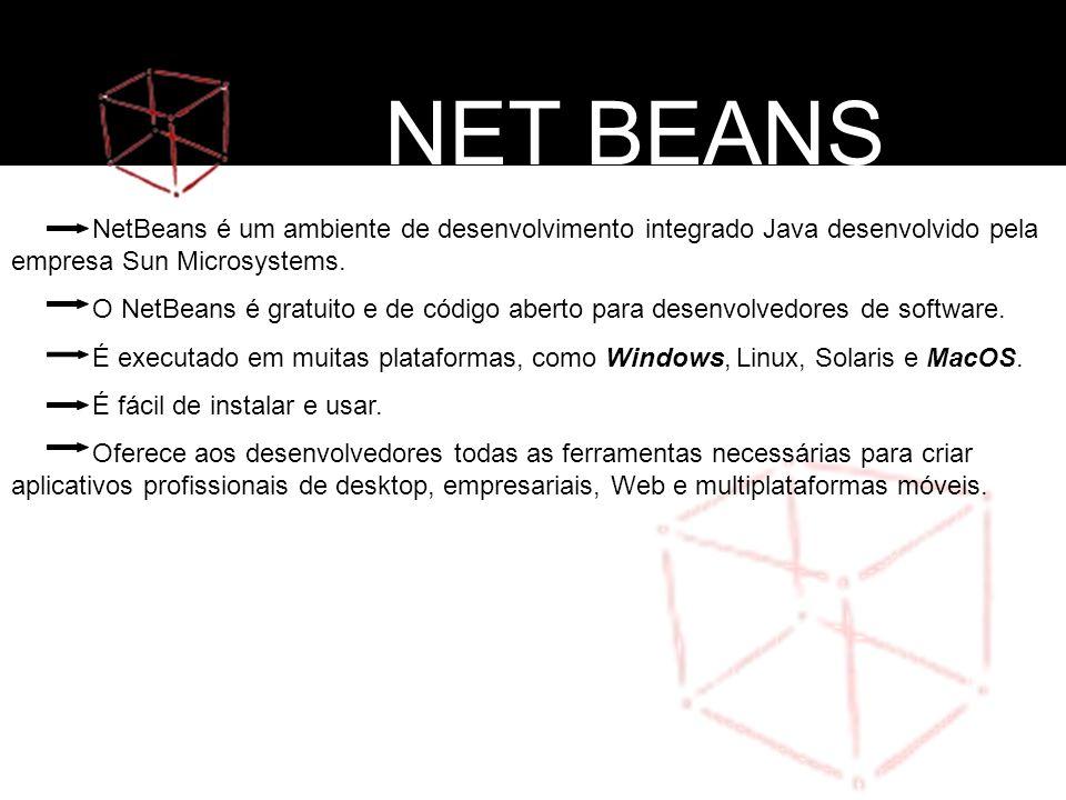 NetBeans é um ambiente de desenvolvimento integrado Java desenvolvido pela empresa Sun Microsystems. O NetBeans é gratuito e de código aberto para des