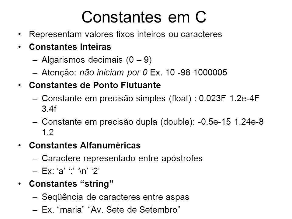 Constantes em C Representam valores fixos inteiros ou caracteres Constantes Inteiras –Algarismos decimais (0 – 9) –Atenção: não iniciam por 0 Ex. 10 -