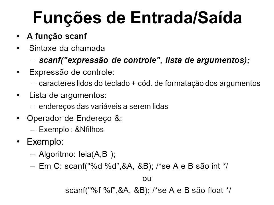 Funções de Entrada/Saída A função scanf Sintaxe da chamada –scanf(
