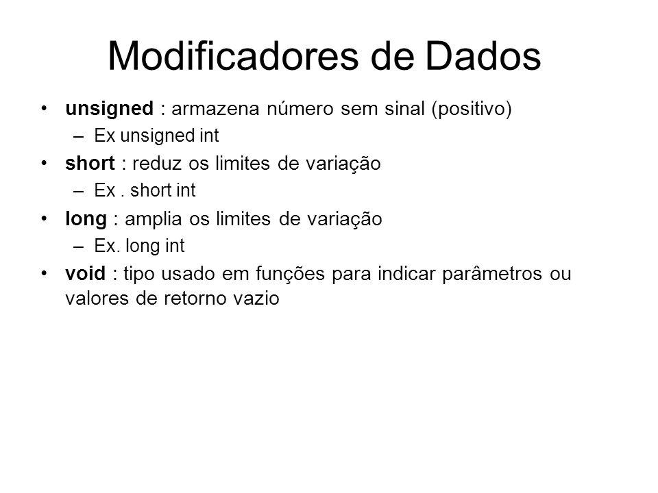 Modificadores de Dados unsigned : armazena número sem sinal (positivo) –Ex unsigned int short : reduz os limites de variação –Ex. short int long : amp
