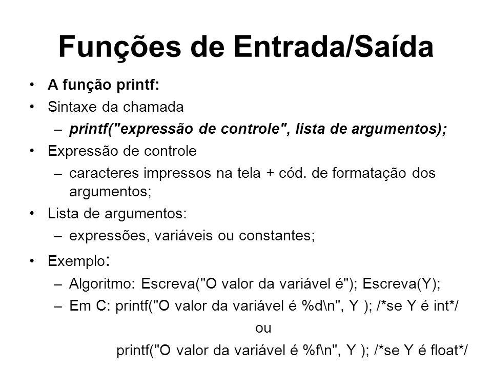 Funções de Entrada/Saída A função printf: Sintaxe da chamada –printf(