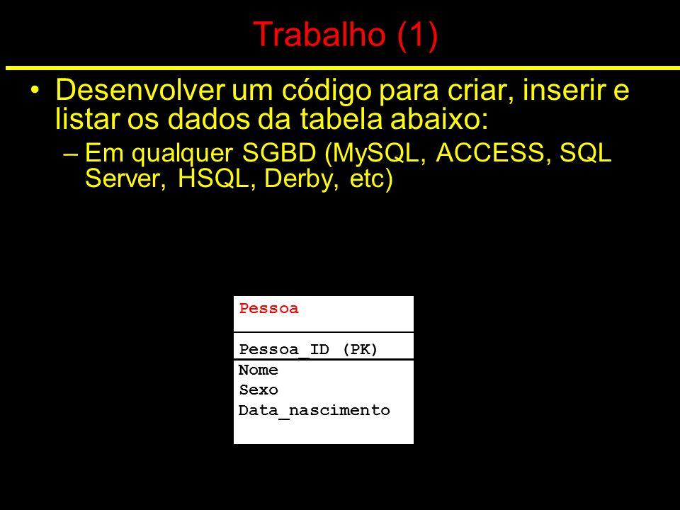 Trabalho (1) Desenvolver um código para criar, inserir e listar os dados da tabela abaixo: –Em qualquer SGBD (MySQL, ACCESS, SQL Server, HSQL, Derby,