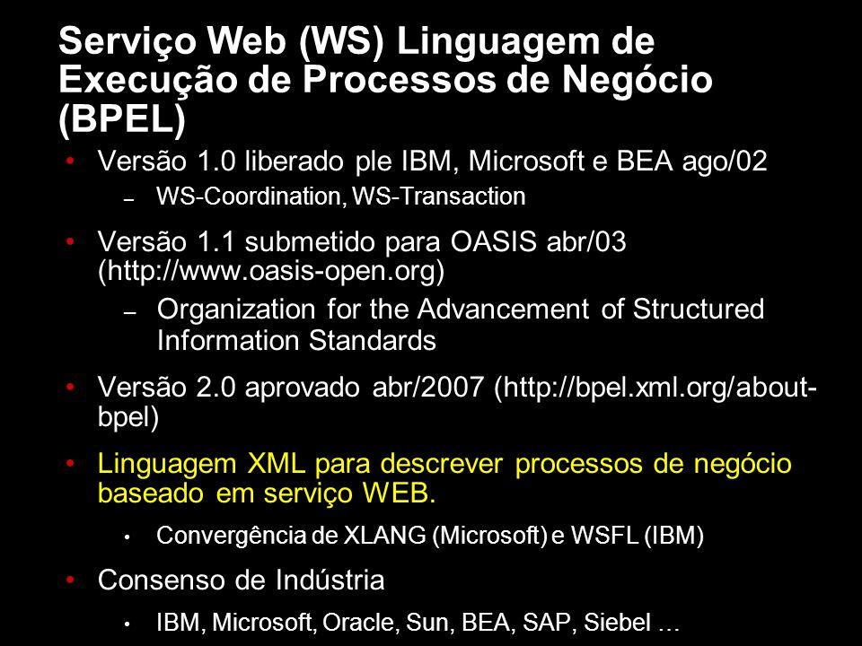 Serviço Web (WS) Linguagem de Execução de Processos de Negócio (BPEL) Versão 1.0 liberado ple IBM, Microsoft e BEA ago/02 – WS-Coordination, WS-Transa