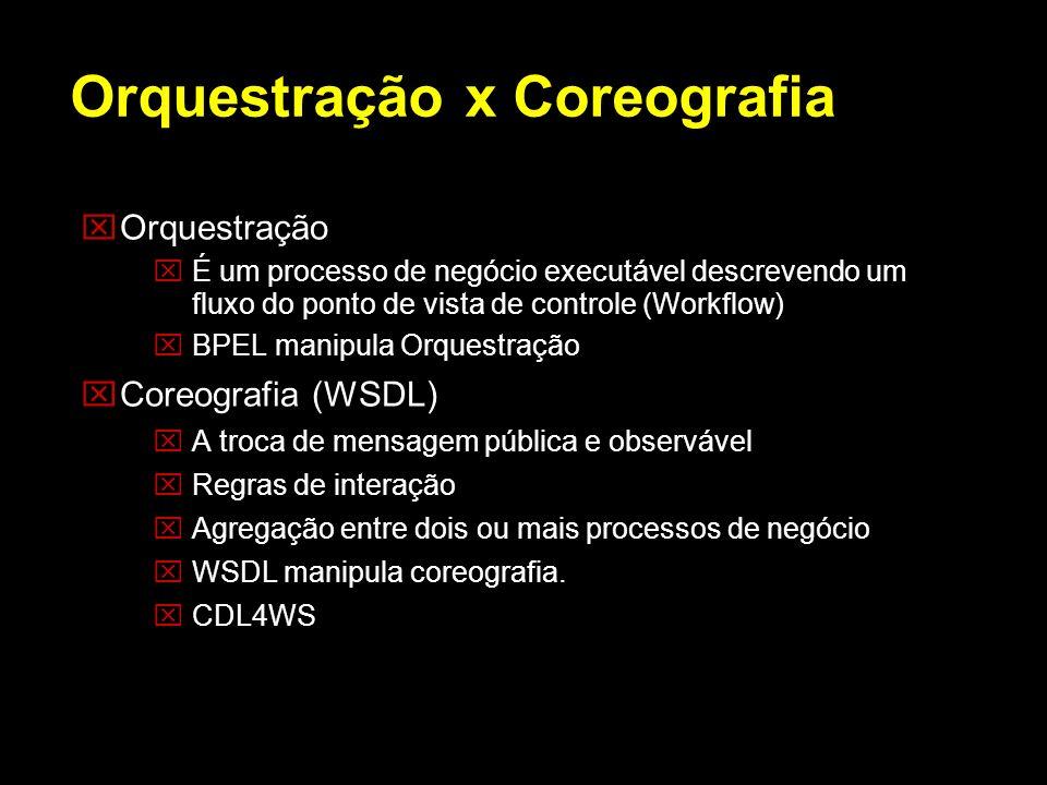 Orquestração É um processo de negócio executável descrevendo um fluxo do ponto de vista de controle (Workflow) BPEL manipula Orquestração Coreografia
