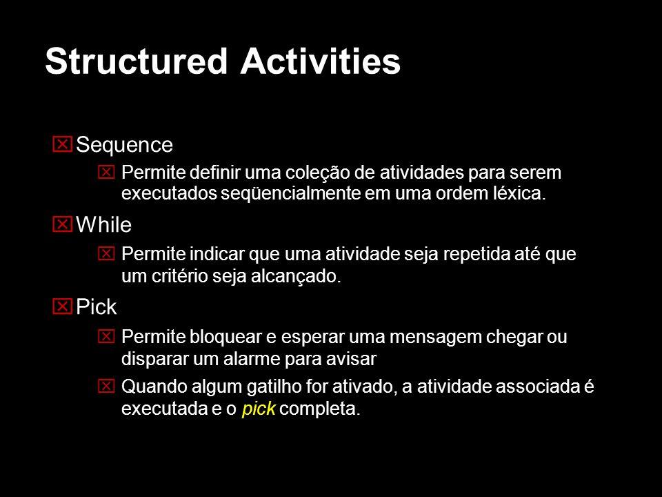 Structured Activities Sequence Permite definir uma coleção de atividades para serem executados seqüencialmente em uma ordem léxica. While Permite indi