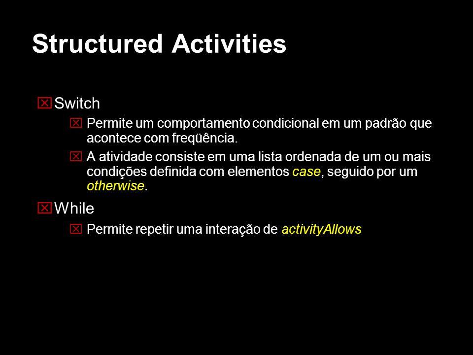 Structured Activities Switch Permite um comportamento condicional em um padrão que acontece com freqüência. A atividade consiste em uma lista ordenada
