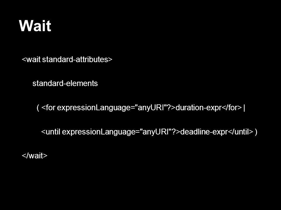 Wait standard-elements ( duration-expr | deadline-expr )