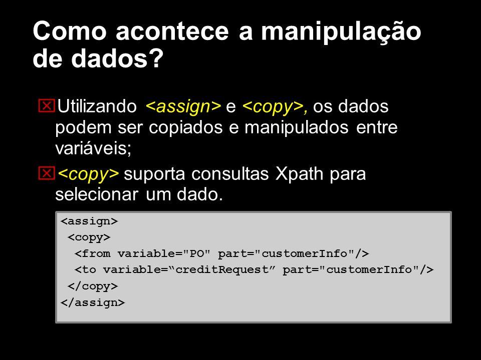 Como acontece a manipulação de dados? Utilizando e, os dados podem ser copiados e manipulados entre variáveis; suporta consultas Xpath para selecionar