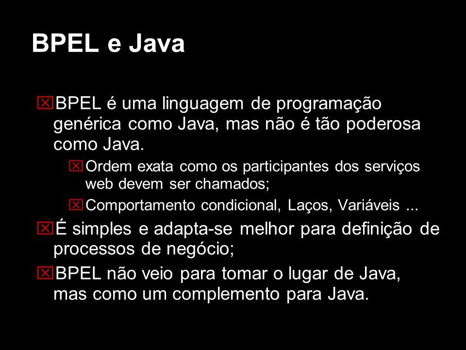 BPEL e Java BPEL é uma linguagem de programação genérica como Java, mas não é tão poderosa como Java. Ordem exata como os participantes dos serviços w