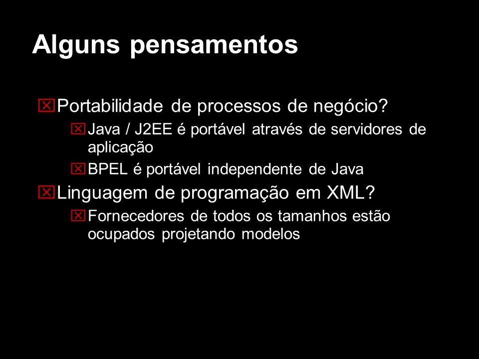 Alguns pensamentos Portabilidade de processos de negócio? Java / J2EE é portável através de servidores de aplicação BPEL é portável independente de Ja