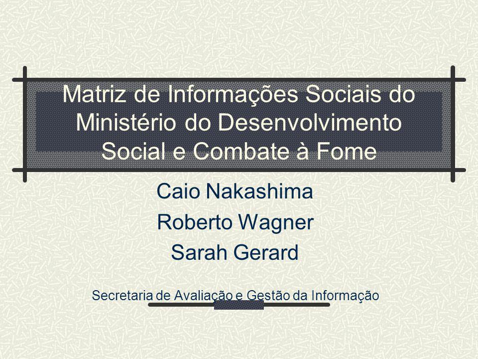 Matriz de Informações Sociais do Ministério do Desenvolvimento Social e Combate à Fome Caio Nakashima Roberto Wagner Sarah Gerard Secretaria de Avalia