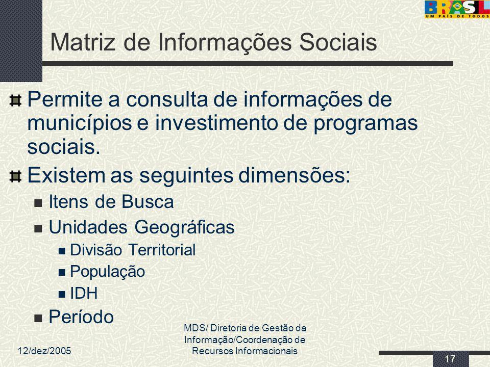 12/dez/2005 MDS/ Diretoria de Gestão da Informação/Coordenação de Recursos Informacionais 17 Matriz de Informações Sociais Permite a consulta de infor