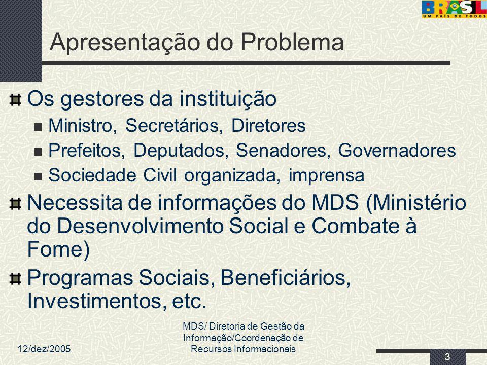 12/dez/2005 MDS/ Diretoria de Gestão da Informação/Coordenação de Recursos Informacionais 3 Apresentação do Problema Os gestores da instituição Minist