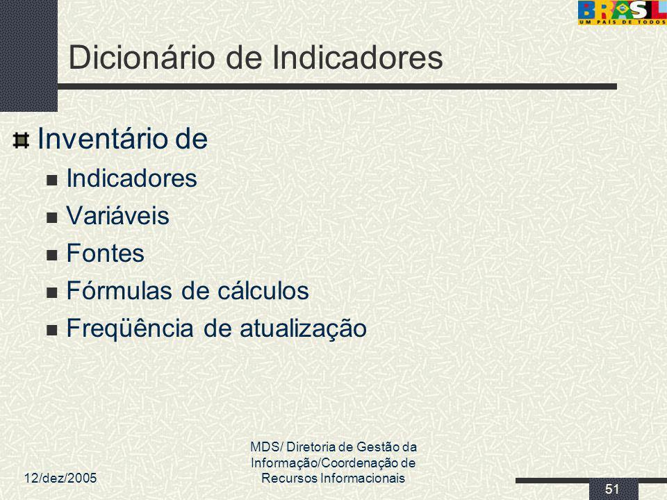 12/dez/2005 MDS/ Diretoria de Gestão da Informação/Coordenação de Recursos Informacionais 51 Dicionário de Indicadores Inventário de Indicadores Variá