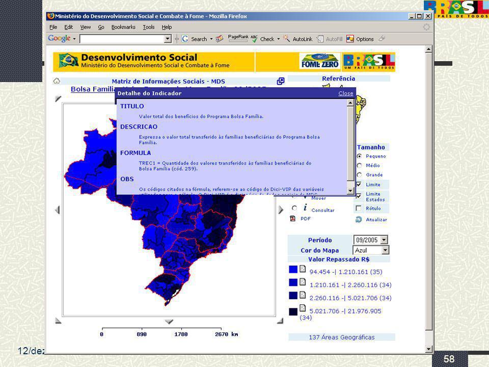 12/dez/2005 MDS/ Diretoria de Gestão da Informação/Coordenação de Recursos Informacionais 58