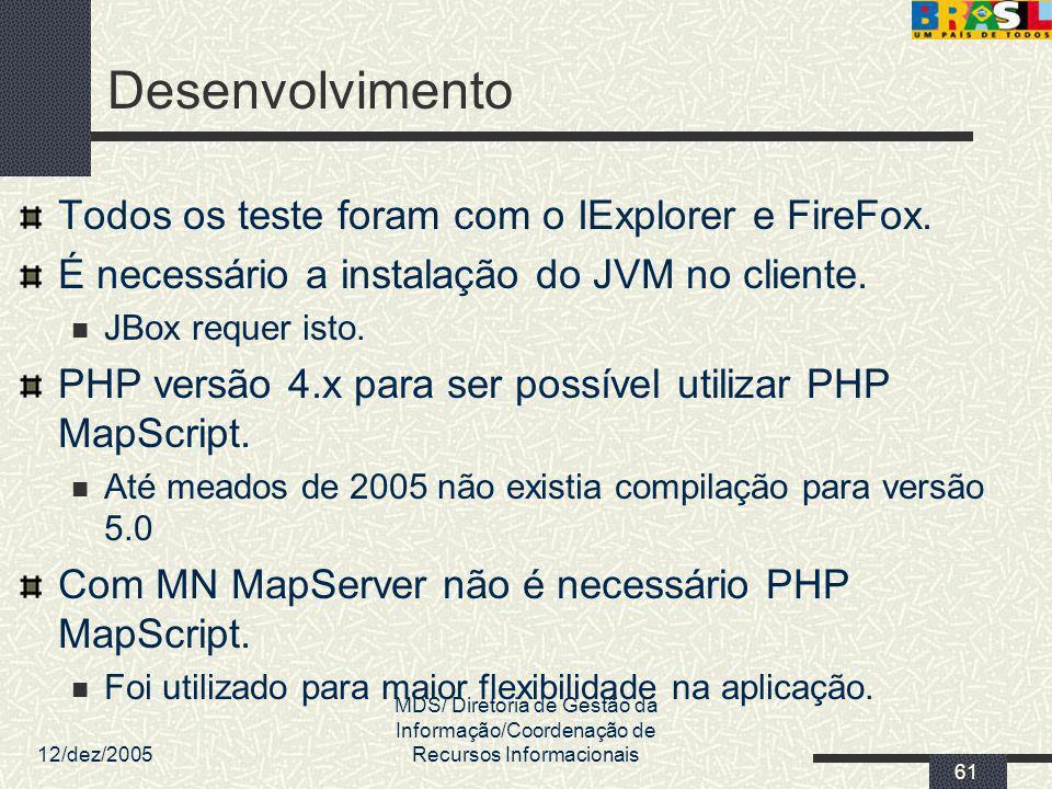 12/dez/2005 MDS/ Diretoria de Gestão da Informação/Coordenação de Recursos Informacionais 61 Desenvolvimento Todos os teste foram com o IExplorer e Fi