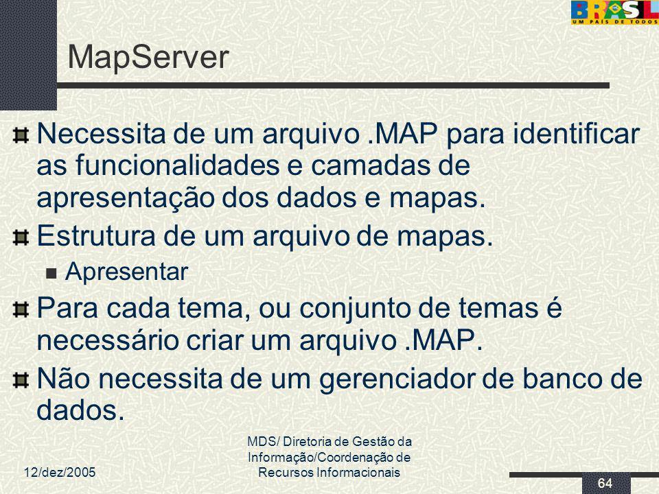 12/dez/2005 MDS/ Diretoria de Gestão da Informação/Coordenação de Recursos Informacionais 64 MapServer Necessita de um arquivo.MAP para identificar as