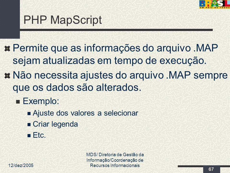 12/dez/2005 MDS/ Diretoria de Gestão da Informação/Coordenação de Recursos Informacionais 67 PHP MapScript Permite que as informações do arquivo.MAP s