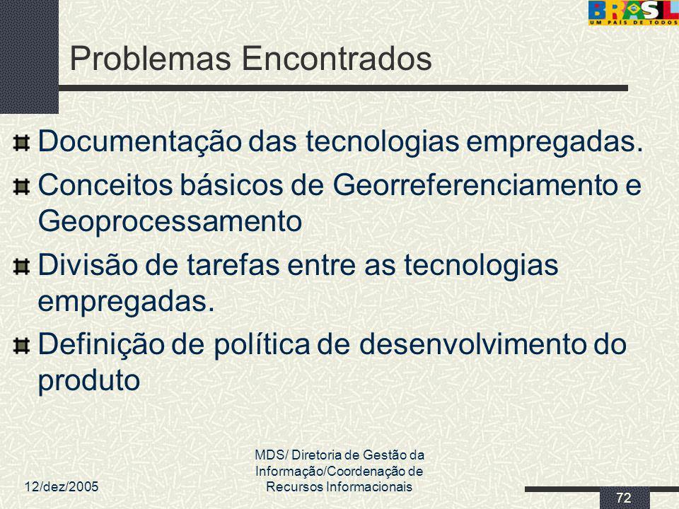 12/dez/2005 MDS/ Diretoria de Gestão da Informação/Coordenação de Recursos Informacionais 72 Problemas Encontrados Documentação das tecnologias empreg