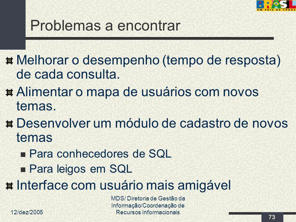 12/dez/2005 MDS/ Diretoria de Gestão da Informação/Coordenação de Recursos Informacionais 73 Problemas a encontrar Melhorar o desempenho (tempo de res