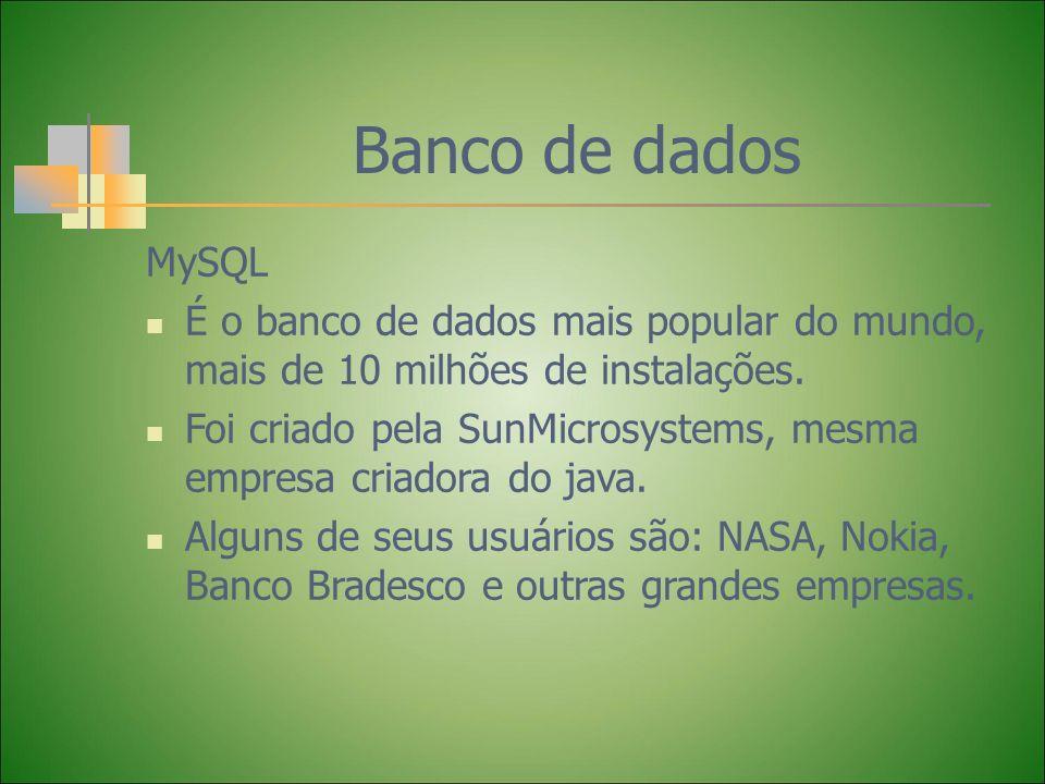 Banco de dados MySQL É o banco de dados mais popular do mundo, mais de 10 milhões de instalações. Foi criado pela SunMicrosystems, mesma empresa criad